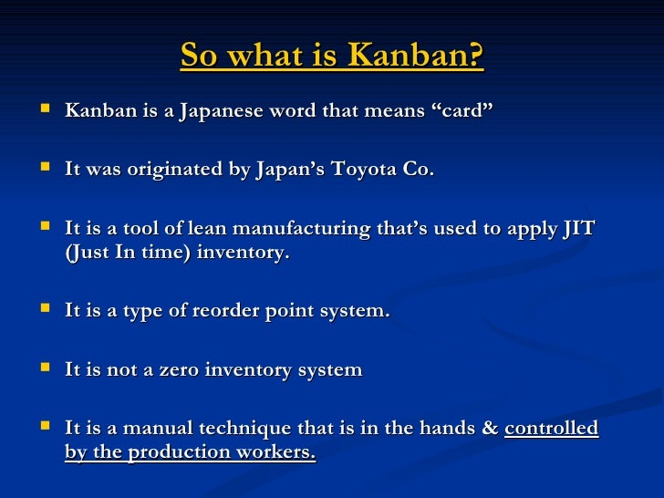 Kanban Cards Amp Pull Systems