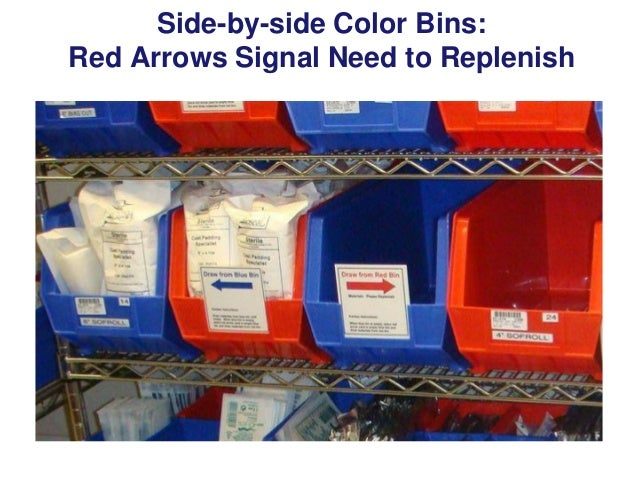 Side By Side Color Bins Red Arrows