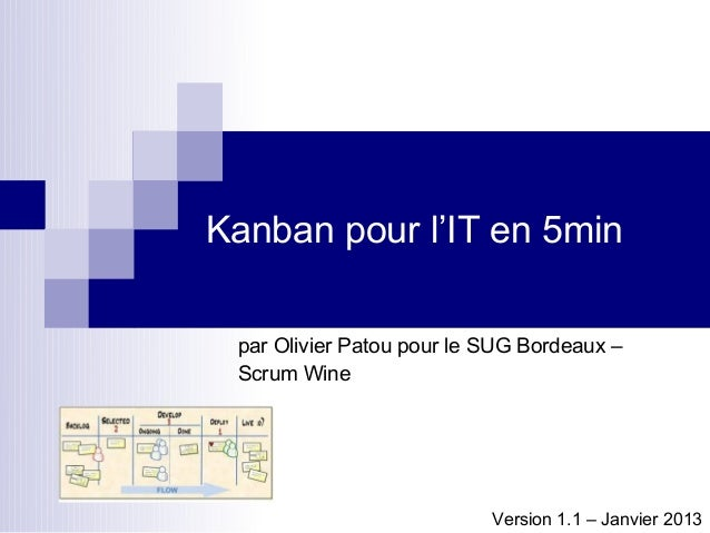 Kanban pour l'IT en 5min par Olivier Patou pour le SUG Bordeaux – Scrum Wine                           Version 1.1 – Janvi...