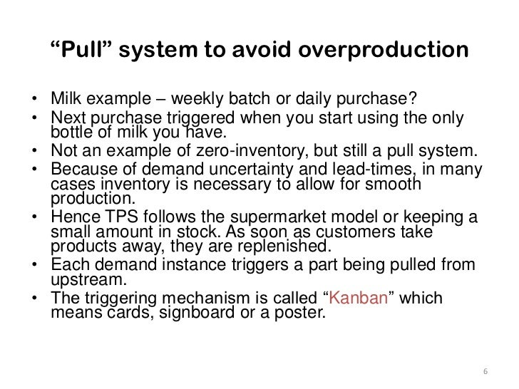 """""""Pull"""" system to avoid overproduction<br />Milk example – weekly batch or daily purchase?<br />Next purchase triggered whe..."""