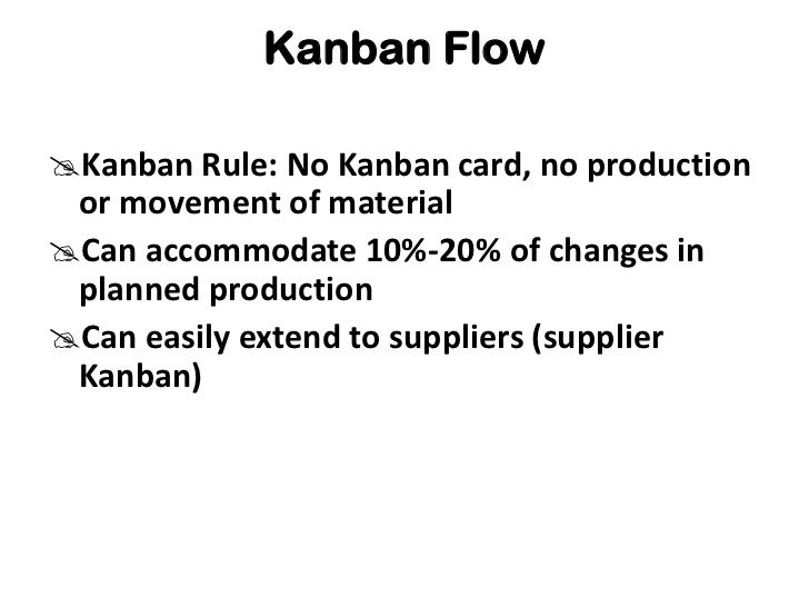 Kanban Flow<br /><ul><li>Kanban Rule: No Kanban card, no production or movement of material