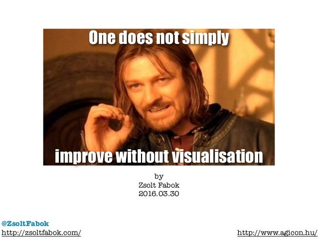 One does not simply improve without visualisation @ZsoltFabok http://zsoltfabok.com/ http://www.agicon.hu/ by Zsolt Fabok ...