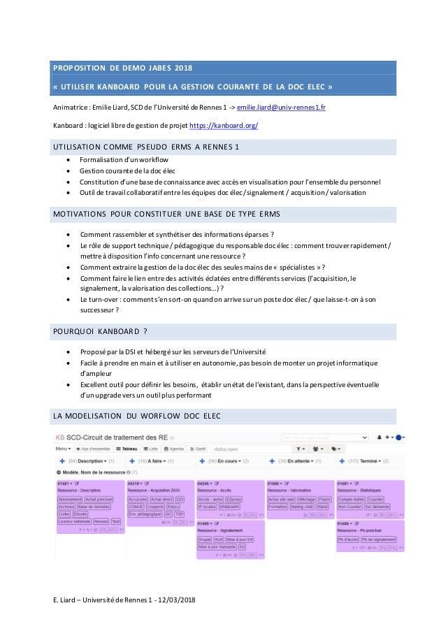E. Liard – UniversitédeRennes 1 - 12/03/2018 PROPOSITION DE DEMO JABES 2018 « UTILISER KANBOARD POUR LA GESTION COURANTE D...