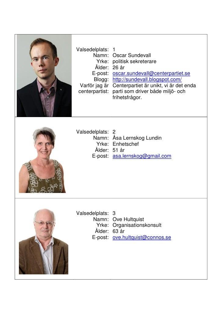 Valsedelplats:    1        Namn:      Oscar Sundevall           Yrke:   politisk sekreterare          Ålder:   26 år      ...
