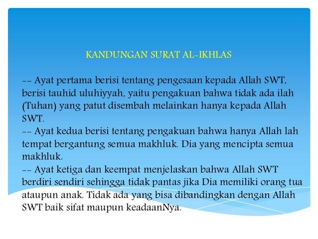 Kandungan Surat Al Fatihah An Naas Al Falaq Dan Al Ikhlas