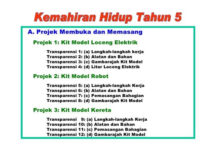 Kemahiran Hidup Tahun 5 <ul><li>A. Projek Membuka dan Memasang </li></ul><ul><ul><ul><li>Projek 1: Kit Model Loceng Elektr...
