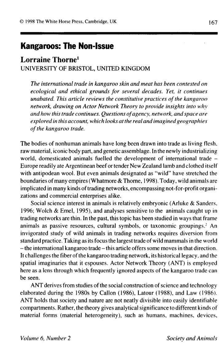 167Kangaroos:         The    Non-IssueLorraine      Thorne1UNIVERSITY       OF BRISTOL,      UNITED     KINGDOM    The int...