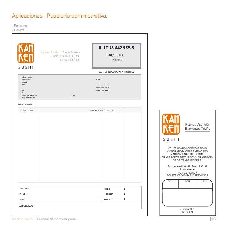 Aplicaciones - Papeleria administrativa.- Factura- Boleta.                                              R.U.T 96.442.959-5...