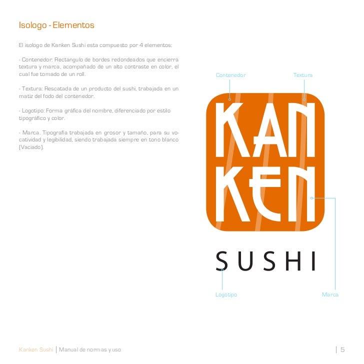 Isologo - ElementosEl isologo de Kanken Sushi esta compuesto por 4 elementos:- Contenedor: Rectangulo de bordes redondeado...