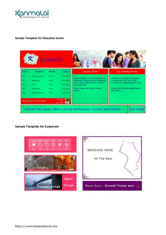 https://www.kanmalaitech.com Sample Template for Education Sector Sample Template for Corporate