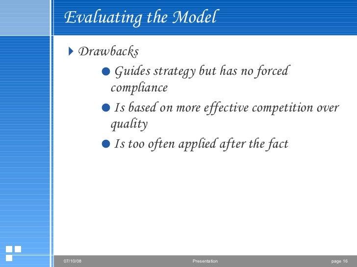 Evaluating the Model <ul><li>Drawbacks </li></ul><ul><ul><ul><li>Guides strategy but has no forced compliance </li></ul></...