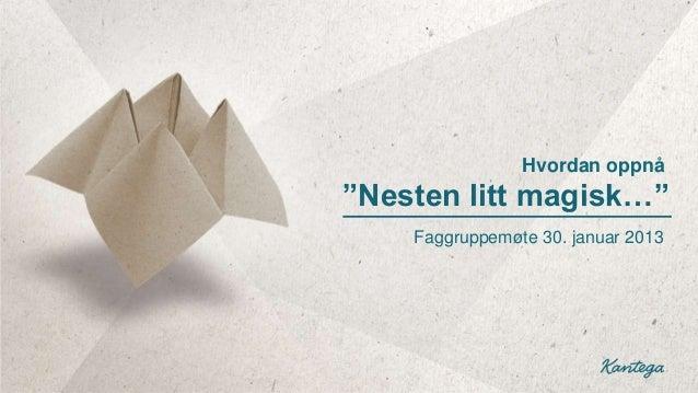 """Hvordan oppnå""""Nesten litt magisk…""""    Faggruppemøte 30. januar 2013"""