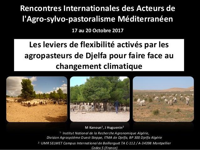 Les leviers de flexibilité activés par les agropasteurs de Djelfa pour faire face au changement climatique M Kanoun1, J Hu...