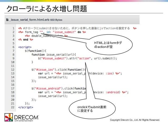 Copyright Drecom Co., Ltd. All Rights Reserved. クローラによる水増し問題 HTML上はformタグ のactionが空 onclickでsubmit直前 に設定する