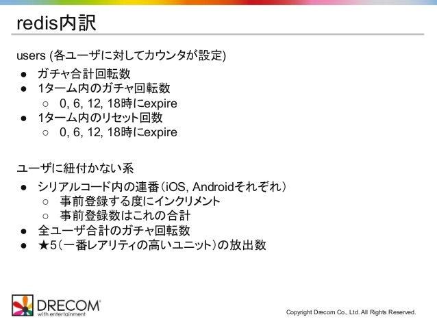 Copyright Drecom Co., Ltd. All Rights Reserved. redis内訳 users (各ユーザに対してカウンタが設定) ● ガチャ合計回転数 ● 1ターム内のガチャ回転数 ○ 0, 6, 12, 18時に...