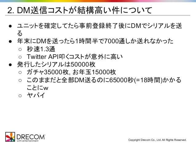 Copyright Drecom Co., Ltd. All Rights Reserved. 2. DM送信コストが結構高い件について ● ユニットを確定してたら事前登録終了後にDMでシリアルを送 る ● 年末にDMを送ったら1時間半で700...
