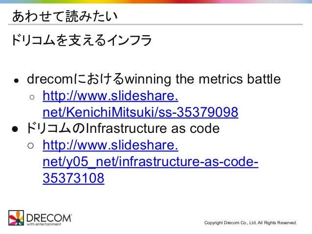 Copyright Drecom Co., Ltd. All Rights Reserved. あわせて読みたい ドリコムを支えるインフラ ● drecomにおけるwinning the metrics battle ○ http://www....