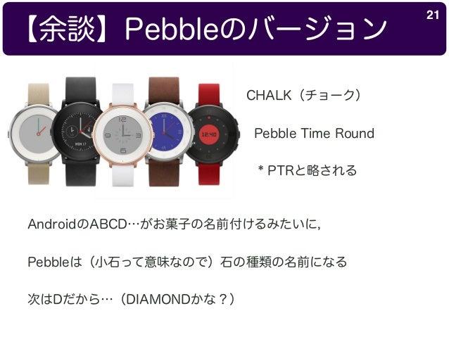 【余談】Pebbleのバージョン 21 CHALK(チョーク) Pebble Time Round * PTRと略される AndroidのABCD…がお菓子の名前付けるみたいに, Pebbleは(小石って意味なので)石の種類の名前になる 次はD...