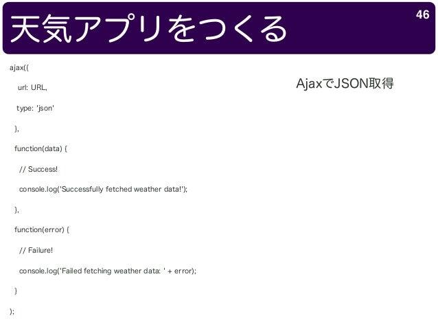 天気アプリをつくる 46 ajax({ url: URL, type: 'json' }, function(data) { // Success! console.log('Successfully fetched weather data!...