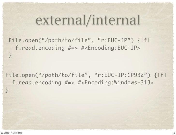 """File.open(""""/path/to/file"""", """"r:EUC-JP"""") { f           f.read.encoding #=> #<Encoding:EUC-JP>        }      File.open(""""/path..."""