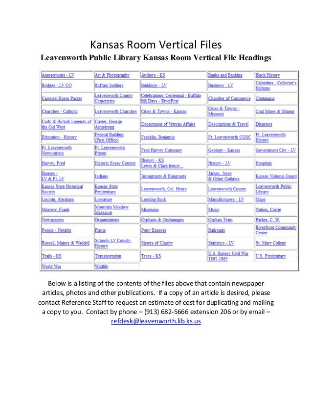 Kansas Room Vertical Files Leavenworth Public Library Kansas Room Vertical File Headings Below is a listing of the content...