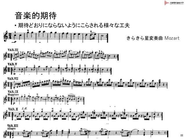 音楽的期待 • 期待どおりにならないようにこらされる様々な工夫 22 きらきら星変奏曲 Mozart