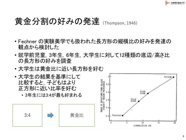 黄金分割の好みの発達 • Fechner の実験美学でも扱われた長方形の縦横比の好みを発達の 観点から検討した • 就学前児童,3年生,6年生,大学生に対して12種類の底辺/高さ比 の長方形の好みを調査 • 大学生は黄金比に近い長方形を好む •...
