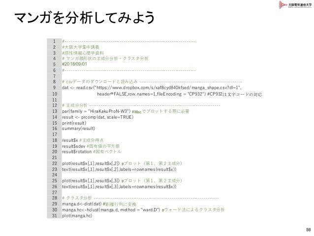 マンガを分析してみよう 1 #--------------------------------------------------------------------- 2 #大阪大学集中講義 3 #感性情報心理学資料 4 # マンガ顔形状の主...