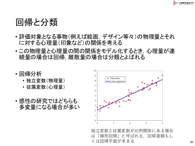 回帰と分類 • 評価対象となる事物(例えば絵画,デザイン等々)の物理量とそれ に対する心理量(印象など)の関係を考える • この物理量と心理量の間の関係をモデル化するとき,心理量が連 続量の場合は回帰,離散量の場合は分類とよばれる • 回帰分析...