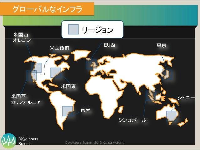 "Summit Developers Developers Summit 2013 Kansai Action !  グローバルなインフラ リージョン 米国西"" オレゴン   EU西  東京 シンガポール 米国西 カリフォルニア 南米 米国東 ..."