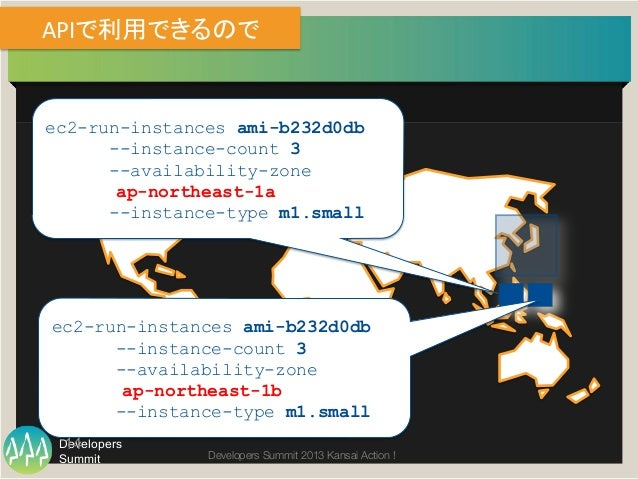 Summit Developers Developers Summit 2013 Kansai Action !  APIで利用できるので ec2-run-instances ami-b232d0db --instance-count 3 -...