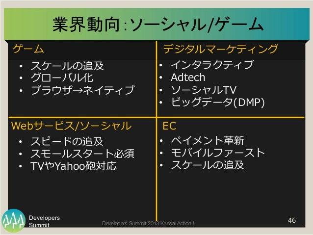 Summit Developers Developers Summit 2013 Kansai Action !  業界動向:ソーシャル/ゲーム   46   ゲーム デジタルマーケティング Webサービス/ソーシャル EC • スケ...