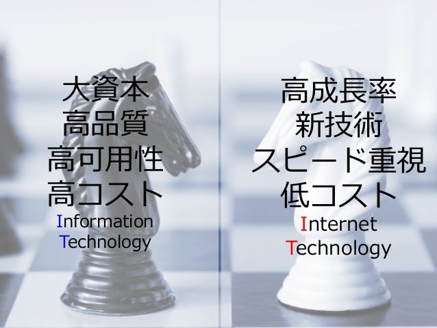 Summit Developers Developers Summit 2013 Kansai Action !  ⼤大資本 ⾼高品質 ⾼高可⽤用性 ⾼高コスト Information Technology ⾼高成⻑⾧長率率率 新技術 スピード...