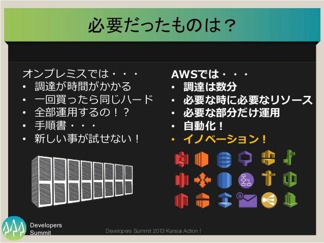 Summit Developers Developers Summit 2013 Kansai Action !  必要だったものは?   オンプレミスでは・・・ • 調達が時間がかかる • ⼀一回買ったら同じハード • 全部運⽤用す...