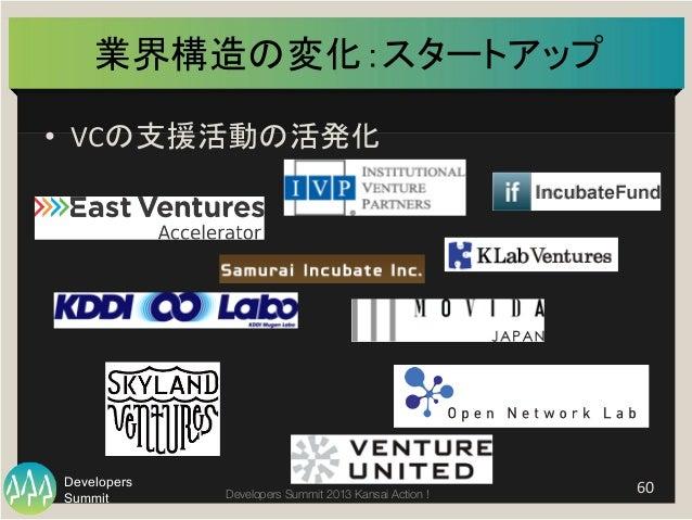 Summit Developers Developers Summit 2013 Kansai Action !  業界構造の変化:スタートアップ   • VCの支援活動の活発化   60