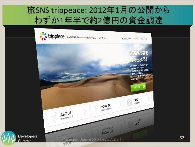 Summit Developers Developers Summit 2013 Kansai Action !  旅SNS  trippeace:  2012年1月の公開から   わずか1年半で約2億円の資金調達   62 ...