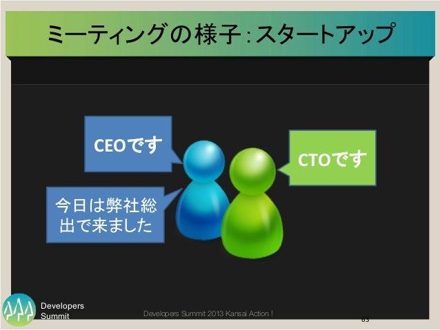 Summit Developers Developers Summit 2013 Kansai Action !  ミーティングの様子:スタートアップ   63   CEOです   CTOです   今日は弊社総 出で来ました ...