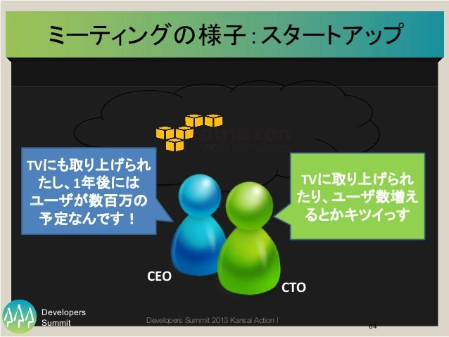 Summit Developers Developers Summit 2013 Kansai Action !  ミーティングの様子:スタートアップ   64   TVにも取り上げられ たし、1年後には ユーザが数百万の 予定なんです...