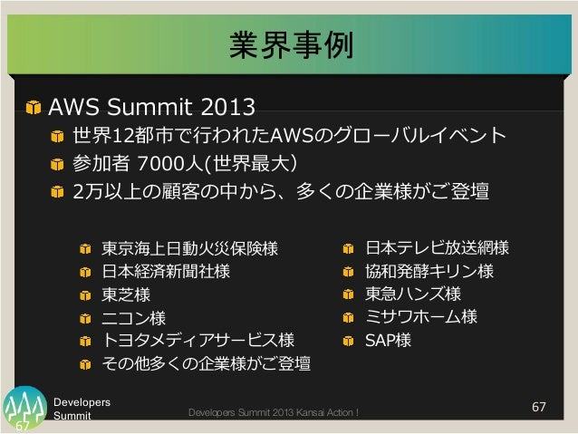 "Summit Developers Developers Summit 2013 Kansai Action !  業界事例   67   ""  AWS Summit 2013 ""  世界12都市で⾏行行われたAWSのグローバル..."