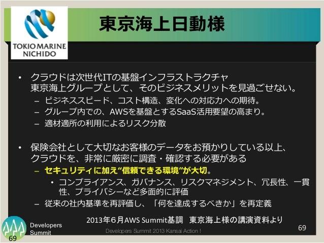 Summit Developers Developers Summit 2013 Kansai Action !   69   69   東京海上⽇日動様 • クラウドは次世代ITの基盤インフラストラクチャ 東京海上グループとして、そ...