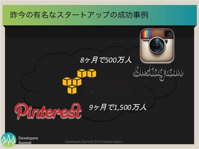 Summit Developers Developers Summit 2013 Kansai Action !  昨今の有名なスタートアップの成功事例 8ヶ月で500万人   9ヶ月で1,500万人