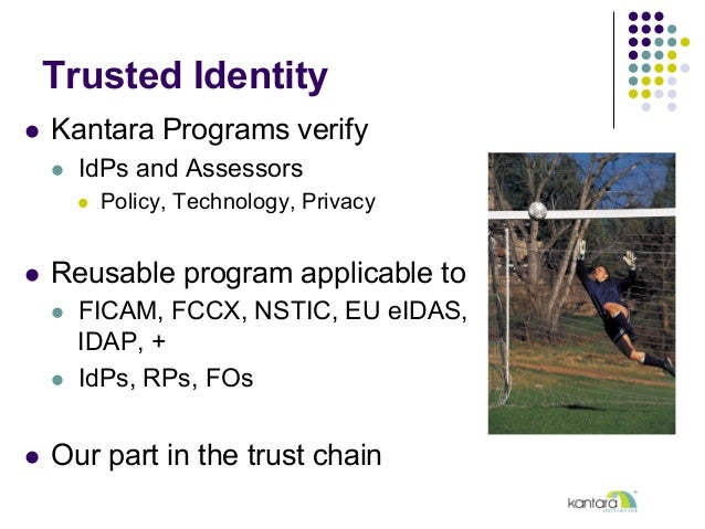 Trusted Identity l Kantara Programs verify l IdPs and Assessors l Policy, Technology, Privacy l Reusable program a...