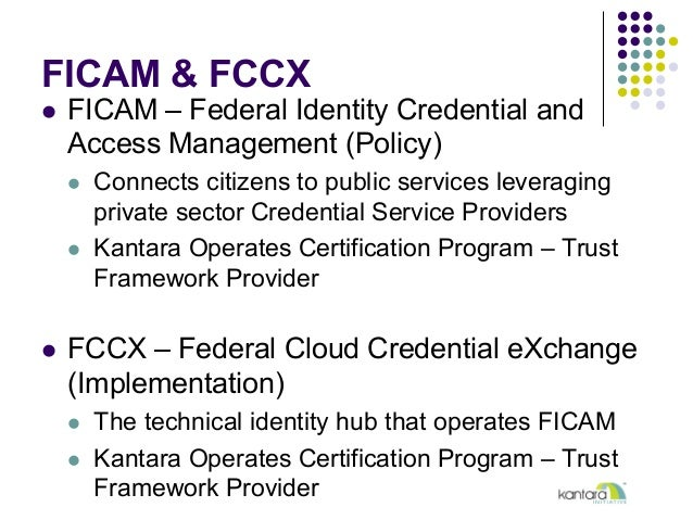 FICAM & FCCX l FICAM – Federal Identity Credential and Access Management (Policy) l Connects citizens to public servic...