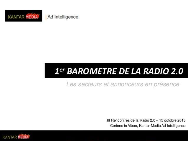 1er BAROMETRE DE LA RADIO 2.0 Les secteurs et annonceurs en présence  III Rencontres de la Radio 2.0 – 15 octobre 2013 Cor...