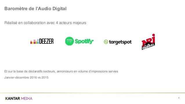 8 Baromètre de l'Audio Digital Réalisé en collaboration avec 4 acteurs majeurs Et sur la base de déclaratifs secteurs, ann...