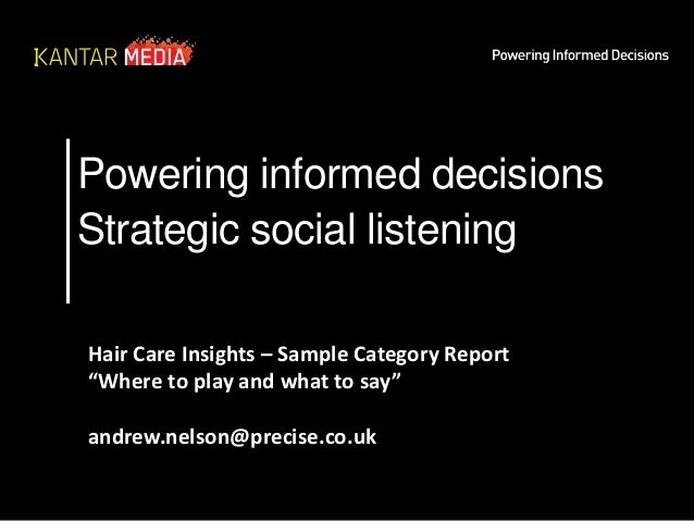 """Powering informed decisions Strategic social listening Hair Care Insights – Sample Category Report """"Where to play and what..."""