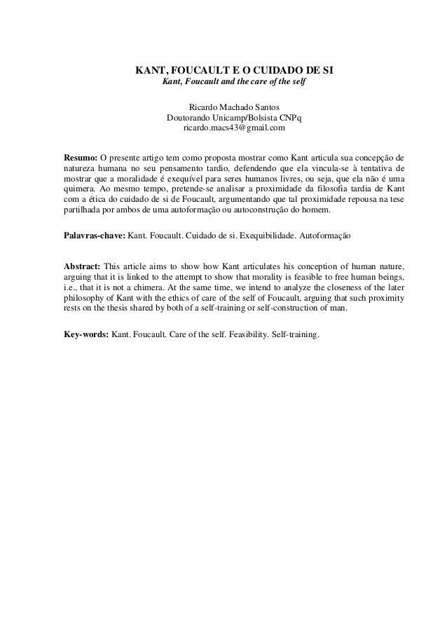 Kant, Foucault e o cuidado de si  Ricardo Machado Santos  85  _____________________________  Kant e-Prints. Campinas, Séri...