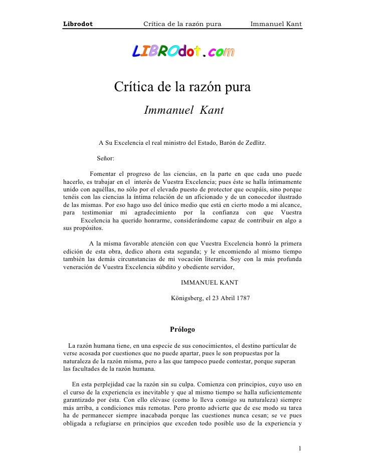 Kant, inmanuel   critica a la razon pura