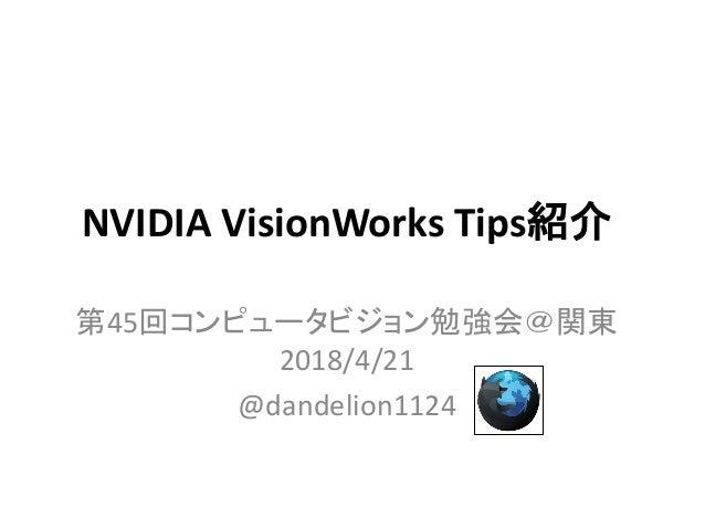 NVIDIA VisionWorks Tips紹介 第45回コンピュータビジョン勉強会@関東 2018/4/21 @dandelion1124