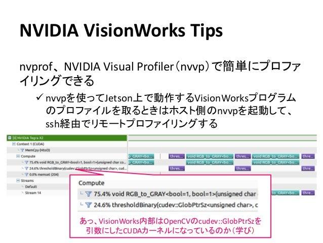 NVIDIA VisionWorks Tips nvprof、 NVIDIA Visual Profiler(nvvp)で簡単にプロファ イリングできる ✓ nvvpを使ってJetson上で動作するVisionWorksプログラム のプロファイ...